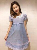 ชุดเดรสสีฟ้าผ้า cotton คอเสื้อลูกไม้น่ารักผ้าใส่สวย มีเชือกผูกหลัง